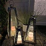 Mojawo XXL 3er Set Gartenlaternen Pyramiden Set aus Edelstahl Windlicht Laterne Glas 27/40 / 55 cm + 3 LED Tropfen Lichterkette + 3'er LED Echtwachskerze mit Farbwechsel