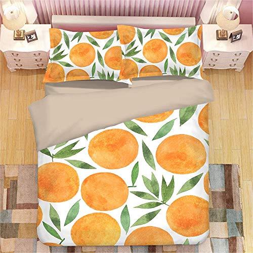 PPWYY 3D gelber Pfirsich Bettbezug-Sets Fleckenresistentes Hypoallergen Bettwäsche 1 Bettbezug + 2 Kissen Shams für Jungen und Mädchen,UKSuperking - Bettbezug Gelb King-set