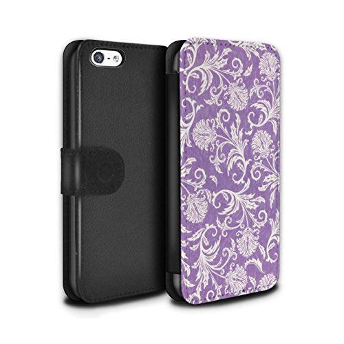 Stuff4 Coque/Etui/Housse Cuir PU Case/Cover pour Apple iPhone 5C / Pack (10 modèles) Design / Fleurs Collection Fond Violet