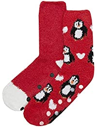Zest Ladies 2 Pack Cosy Gripper Christmas Socks Size 4-8