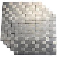 Royllent - Azulejos para cocina, azulejos de aluminio, azulejos de mosaico para pared brillante, decoración de muebles, 1 m²