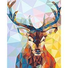 Fuumuui Peinture numéro Adulte-Bricolage numérique pour Enfants Adultes Peindre par Nombre Kits Home Decor -TriangleDeer 16 * 20 Pouces