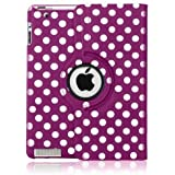 FullDream iPad 3 iPad 3rd Generation & New iPad 4 4th Generation & iPad 2 360 Rotating Leather Stand Cover Case With Magnetic Auto Sleep Wake, Including Screen Protector and Stylus Pen (Polka Purple)