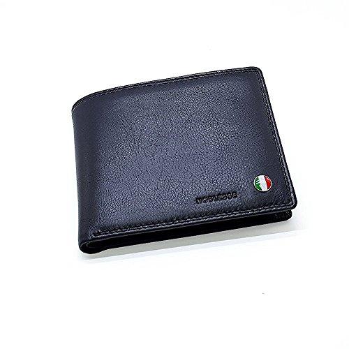Leder Portemonnaie, Herren-Geldbörse, Lederbörse, schwarz, NOBLESSE 818 - aus bester Rindleder Nappa Qualität mit natürlicher weicher Oberflächenstruktur. (Herren Rindleder Geldbörse)