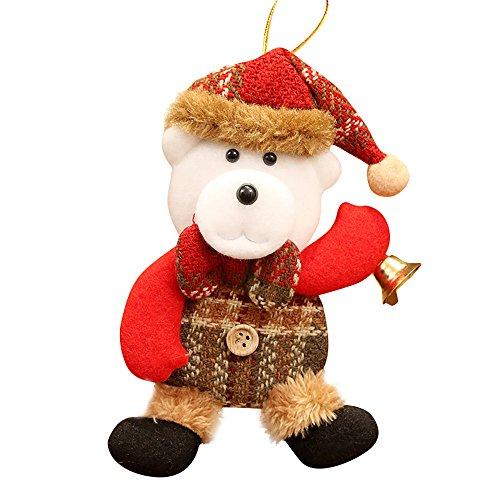 ODJOY-FAN Weihnachten Mini Anhänger Hängende Verzierung Ornamente Weihnachtsmann Schneemann Rentier Spielzeug Puppe Hängen Dekorationen Geschenk 17×10CM,12g(C,1 PC) -