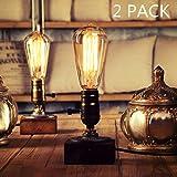 OYGROUP 2 Pack Holz Nachtlicht Tischlampe Vintage Schreibtisch Lampe E26 Edison Birne Holz Retro Industrial Dimmable Nightlight für Schlafzimmer Wohnzimmer Home Art Display Cafe Bar Studio Antique Décor