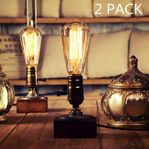 OYGROUP Paquete de 2 Lámpara de Mesa de Noche de Madera Lámpara de Escritorio Vintage E27 Lámpara de Edison Retro Iluminación Industrial de Madera Dimmable para Dormitorios Sala de estar Inicio Art Display Café Bar Studio Antique Décor
