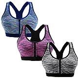 Libella 3er Pack Damen Sport-BH mit Front-Zip Reißverschluss X-Rücken Bügelloser Push up 3762 Grau+Lila+Blau L/XL