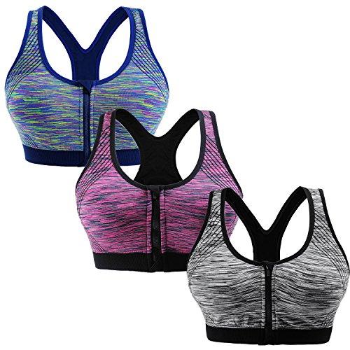 Libella 3er Pack Damen Sport-BH mit Front-Zip Reißverschluss X-Rücken Bügelloser Push up 3762 Grau+Lila+Blau S/M
