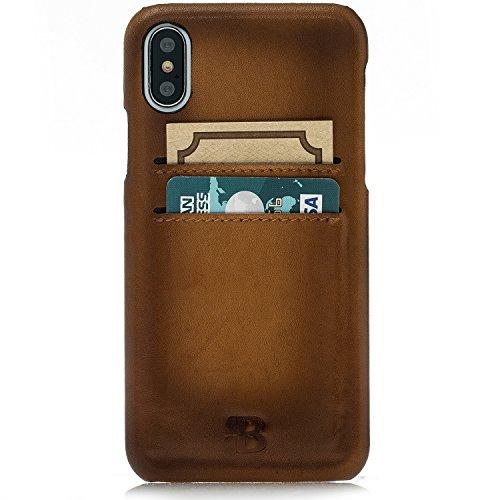 Burkley Apple iPhone X Hülle | Lederhülle | Tasche | Handytasche | Schutzhülle | Kartenfach | Handyhülle | Ledertasche | Back Cover | Case (Kaffee Braun) Sattel Braun