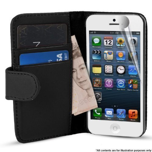 MadCase Étui à rabat imitation cuir doux Fentes pour cartes de crédit Compatible Apple iPhone 5/5s Protection d'écran et style inclus
