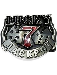 Lucky 7 Spieler Buckle, Jackpot, recht groß, High End - Gürtelschnalle