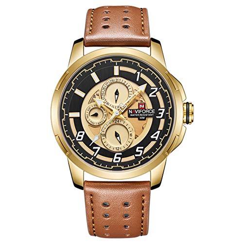YSCYLY Orologio da Uomo Impermeabile Sport Orologi Mens Leather Band 24 Ore Calendario Orologio,Gold
