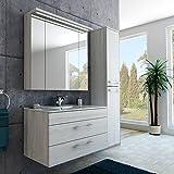 Badezimmer-Set in weiß mit Spiegelschrank, Waschbecken und Hochschrank Holzoptik Monaco Eiche