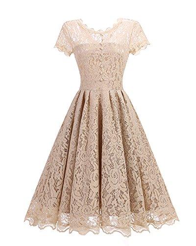 Donna Elegante Vestiti da Floreale Pizzo Lunghi Vestito Formale Banchetto Sera Abiti da Cerimonia Albicocca