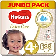 Huggies Extra Care Diapers Size 4+, Mega Pack, 10-16 kg 128 Diapers