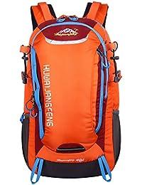 HWJIANFENG 40L Mochilas de Senderismo para Montaña de Acampadas de Nylon Mochilas de Excursion para Viajes Unisex de Ciclismo Color Naranja