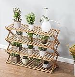 estantes para plantas Soporte plegable de madera de la maceta de 4 niveles Jardinera de jardinero Escalera de exhibición Jardinero Estantes de almacenamiento Rack Herb Holder 50 * 28 * 61cm ( Tamaño : 60*28*61cm )