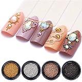 NICOLE DIARY Perlas de acero inoxidable para bricolaje Limo Mini Rosa de plata de oro Perlas de limo decorativas para manualidades artísticas Decoraciones artísticas en 3D Suministros de tamaño mixto