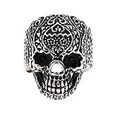 MagiDeal Anillo Cráneo Cabeza Hecho de Acero Titanio Estilo Punk - Tamaño...