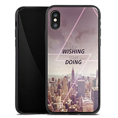 Apple iPhone X Silikon Hülle Case Schutzhülle City Wish Statement Silikon Case schwarz