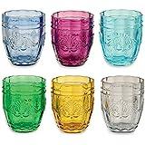 Villa D'Este Syrah Juego de 6 Vasos de Cristal para Agua, en Varios Colores