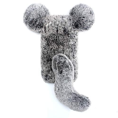 Miagon Maus Schwanz Handyhülle für Huawei P9 Lite,Super Weich Winter Warm Lustig Kunstpelz Plüsch Fluffy Flexibel Handytasche Schale Case,Grau