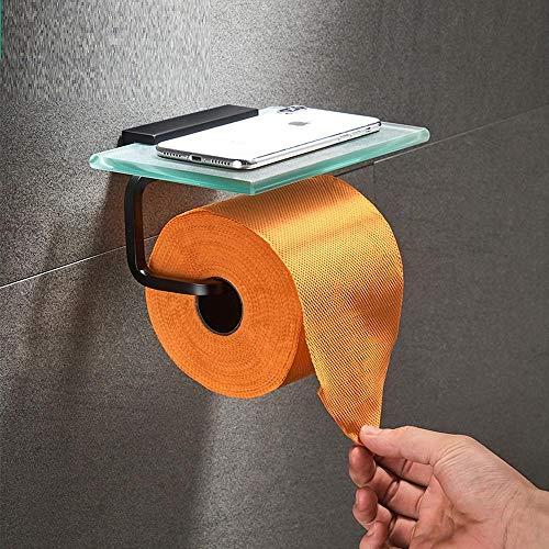 Toilettenpapierhalter Glasablage Schwarz Papierhandtuchhalter Aluminium Hartglas Papierhandtuchhalter Schwarz