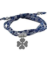 Les Poulettes Bijoux - Bracelet Double Tour Lien Liberty Bleu Foncé et Trèfle Argent