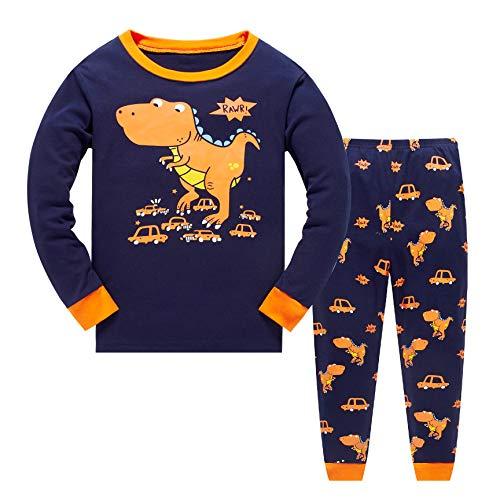 Tkiames Pyjama für Jungen, LKW, Dinosaurier, Kinder-Pjs mit langen Ärmeln, Nachtwäsche Gr. 8-9 Jahre, Orange -