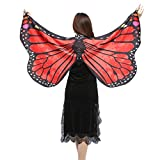 Damen Frauen 147*70CM Weiche Gewebe Schmetterlings Flügel Schal feenhafte Damen Nymphe Pixie Halloween Cosplay Weihnachten Cosplay Kostüm Zusatz (Rot, 147*70CM)