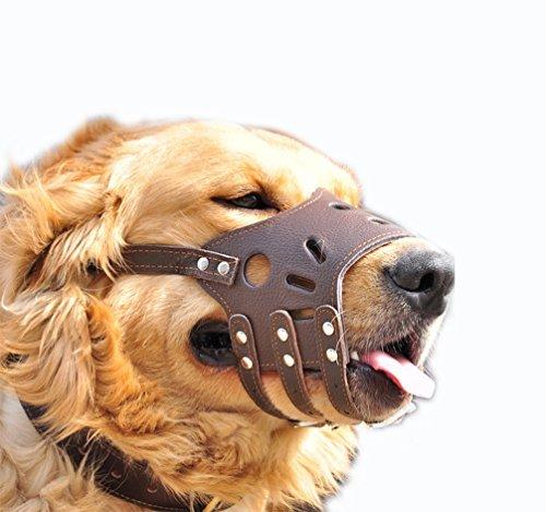 JeonbiuPet einstellbare Hund Maulkorb Anti Bite Rinde erlauben trinken weiches Leder (L)