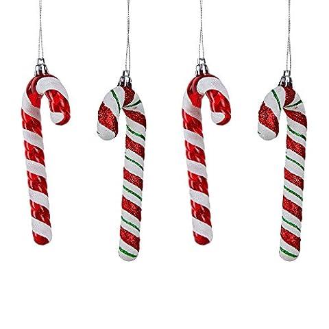 Weihnachts- Baumschmuck Deko Hänger Set Rot- Weiße Zuckerstange – 4Stück (Süßigkeiten, Christbaumschmuck)
