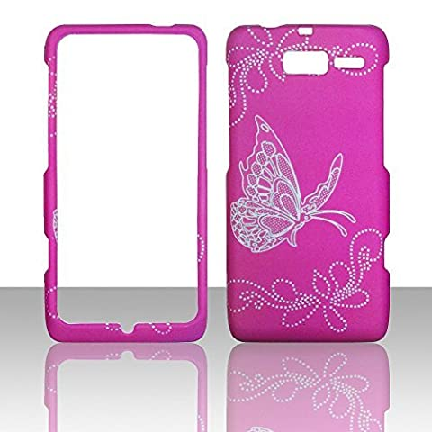 2D Butterfly on Hotpink Motorola Droid RAZR MAXX , XT913/ XT916 Verizon Case Cover Hard Protector Phone Cover Snap on Case Rubberized Frosted Matte Surface Hard