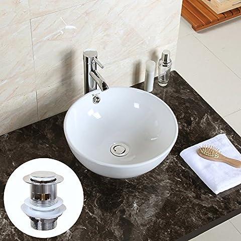 GaGa Round Bowl Top Ceramic Basin Bowl Sink Vessel Porcelain Vanity Bathroom Kitchen with Pop Up