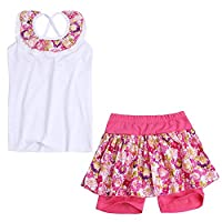 Freebily Girls 2 Pieces Summer Clothes Set Sleeveless Floral Vest + Culottes Outfits Hot Pink 2-3 Years