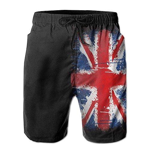 Hunter qiang British Flag Grunge Men's Beach Surfing Board Shorts Swim Trunks Pants WhiteSize S -