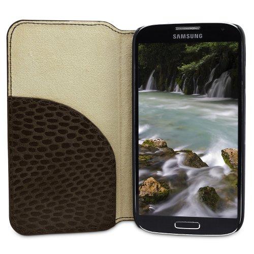 """PLM """"Toros"""" Rot Samsung Galaxy S4 IV Book Case Ledertasche Hülle Tasche Cover - Mit Standfunktion und Kartenfach Pitone - caffè"""