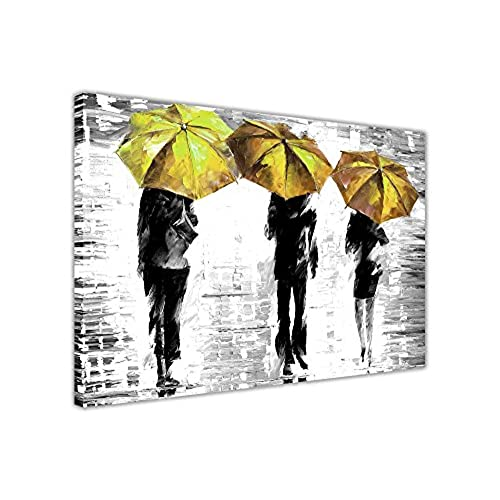 Canvas it up 3 yellow umbrellas by leonid afremov canvas wall art prints framed pictures black and white abstract posters home deco size 40 x 30 101cm x