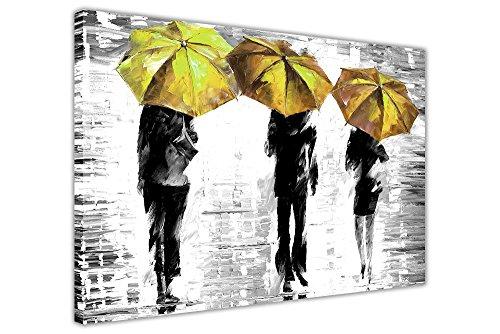 Tela artistica da parete con cornice, 3ombrelli di Leonid Afremov, foto bianco e nero, puntine Tela Legno, Yellow, 8- A1 - 34