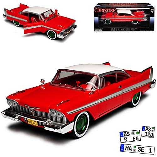 Greenlight Plymouth Fury Coupe Rot Christine Stephen King gruene Felgen 1956-1958 1/24 Modell Auto - Auto Modelle Plymouth