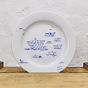 Maritimer Teller Papierschiffe - Handmade von Ahoi Marie - Porzellan Speise-Teller original aus dem Norden