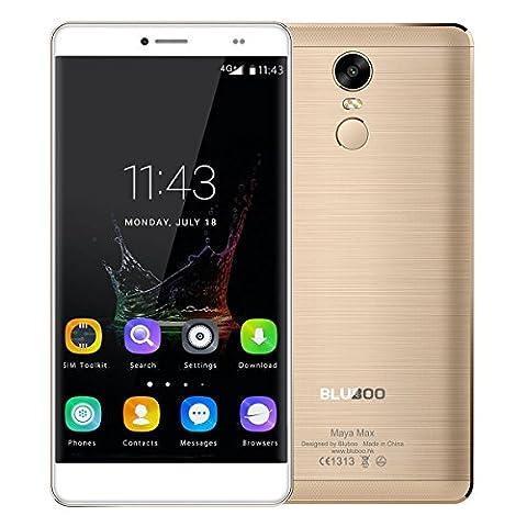 BLUBOO® Maya Max 4G Smartphone Android 6.0 6.0 Zoll HD MTK6750 Octa Kern 1.5 GHz, 3GB RAM 32GB ROM, 13.0MP + 8.0MP Sony Kamera, 4200mAh Akku, Fingerabdrucksensor (Handy Akkulaufzeit)