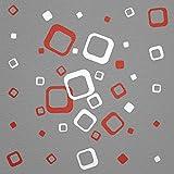 WANDfee® Wandtattoo 40 Vierecke FARBWUNSCH Farbe rot weiss zweifarbig bunte moderne Wanddeko selbstklebende retro Cubes Quadrate Wandaufkleber Wandsticker Fliesenaufkleber Dekoration Deko Aufkleber