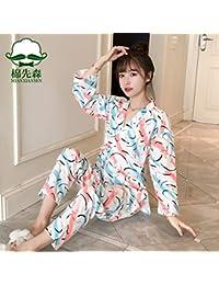 NVYISHUI Kimono Japonés Pijamas Mujeres Otoño Algodón de Manga Larga Dulce Linda Primavera y