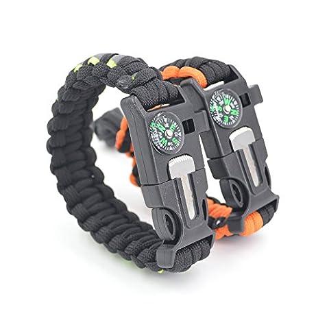 Auchee Paracord Bracelet de survie [2 Pack] bande réfléchissante   vous réglable   Compass   Allume-feu   sifflement   Flint Scraper - Randonnée Camping Pêche Chasse Équipement de vélo (Orange mix Noir, 8.5inch + 7.7 to 9.5inch)