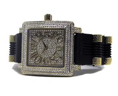 Faux-block (Männer 's Faux Diamond Block, HipHop Bling Herren Armbanduhr – vergoldet)
