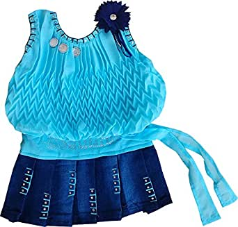 SNS Baby Girl's CParty Wear Dress Silk Plating Midi Skirt (Blue, 3-6 Months)