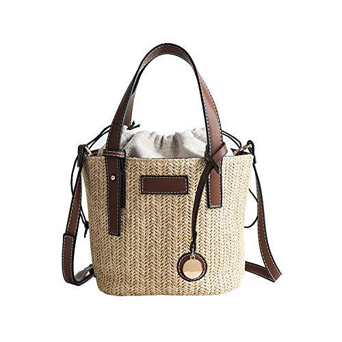 CBSTBLLL Summer Beach Straw Woven Schultertasche Tote Tragbarer Eimer Kleine Handtaschen Outdoor Crossbody Messenger Bag Totes -
