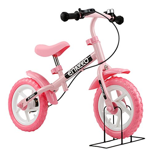 """Enkeeo - 12"""" Bicicleta de Equilibrio, Bicicleta sin Pedales para Los Niños de 3-6 Años, Marco de Acero al Carbono, Manillar y Asiento Ajustable, con Timbre y Freno de Mano, 50kg de Capacidad, Rosa"""